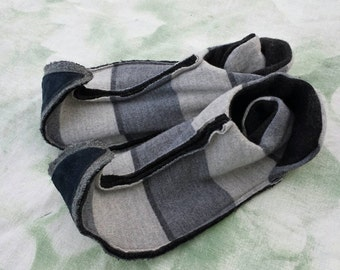 L Elf slippers upcycled wool and leather