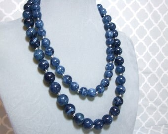 Memphis Blues Collection - Blue Double Strand Beaded Necklace - Denim Accent Statement - Silver Accent Dark Blue - Statement Chunky Necklace