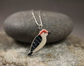 NEW Little Porcelain Woodpecker Bird Sterling Silver Necklace - Miniature Tiny Ceramic Animal Nature Handmade Jewelry