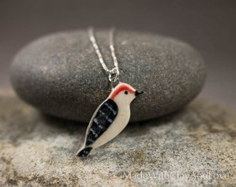 Little Porcelain Woodpecker Bird Sterling Silver Necklace - Miniature Tiny Ceramic Animal Nature Handmade Jewelry