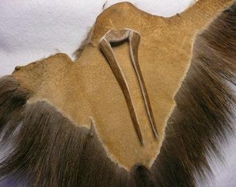 Deer Antler Hair Fork Hand Carved Stick Comb  #88