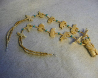 Native American Style Bone Standing Bear and Fetish Necklace