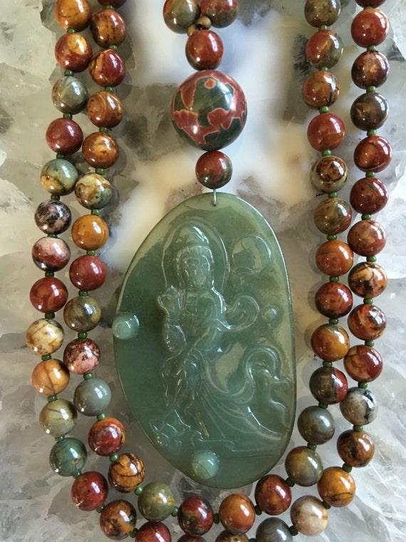 Picasso Jasper and Jade Mala/Prayer Beads