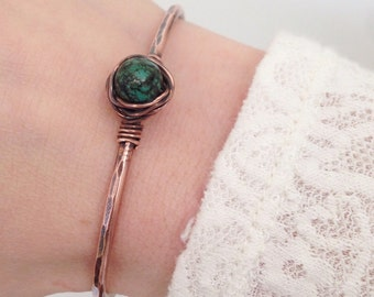 Turquoise & Copper Bracelet, Wire-Wrapped, Cuff