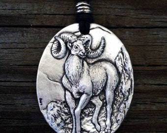 Bighorn Sheep Pewter Pendant
