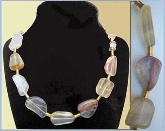 Elegant Modern Rock Crystal Artisan Necklace,Translucent Amethyst Composite Stones,Vintage Jewelry,Women