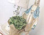 Vintage Madonna Virgin Mary Statue * Chalkware Plaster * Large