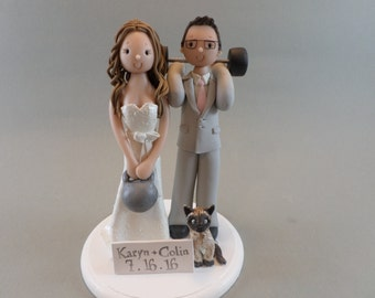 Bride & Groom Weight Lifters Personalized Wedding Cake Topper