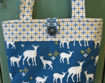 ready to ship forest deer over the shoulder shopping bag / organic cotton knitting bag /  yarn tote/ market tote blue
