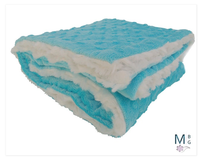 Aqua Turquoise Minky Baby Blanket, Cream and Aqua Minky baby Blanket, Can Be Personalized