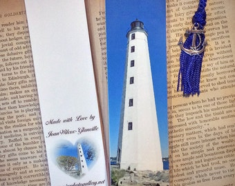 Scenic New England Lighthouse New London Laminated Photo Bookmark w/Tibet Silver Anchor Charm Beads
