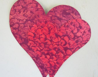 Metal Wall Sculpture Heart Duo Art Recycled Metal Valentines Anniversary Wall Decor Couples Love Purple Plum Coral  13 x 15