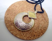 Two Tone Sterling Silver/Brass Necklace - Hammered Effect - Thai Design. Modern