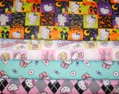HELLO KITTY #8  Fabrics, Sold INDIVIDUALLY not as a group, by the Half Yard