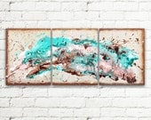 Turquoise Brown Abstract Art Painting Living Room Decor, 48x20 Canvas Painting Wall Decor, Contemporary Modern Art