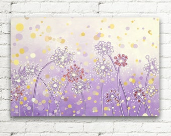 Dandelion Painting, Lavender Flowers Painting, Dandelion Art Original Acrylic Painting, Nursery Decor Modern Wall Art 24x36