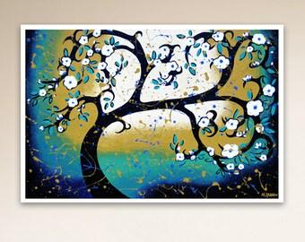 White Cherry Blossom Tree Art Print, Turquoise Room Decor, Whimsical Tree of Life Wall Art, 9.5x14 Signed Print