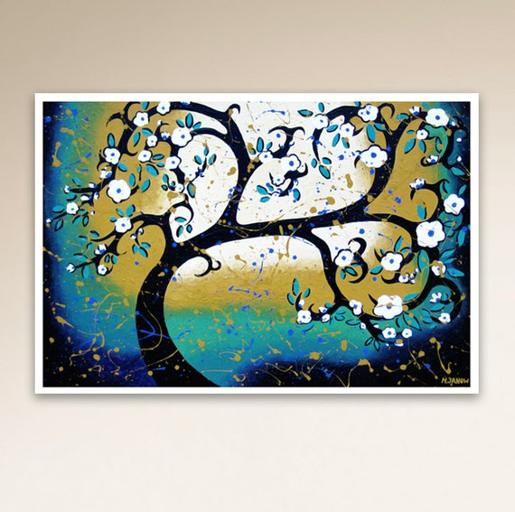 White Cherry Blossom Tree Art Print, Turquoise Room Decor, Whimsical Tree of Life Wall Art, 9.5x14 Signed Print