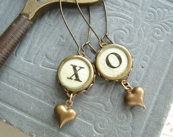 Typewriter Key Earrings - Shabby Hugs and Kisses X O with Brass Hearts. Vintage Typewriter Key Jewelry Rustic Romantic Eco Friendly Gift.