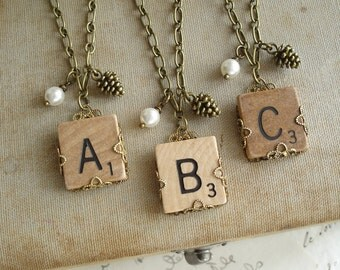 Scrabble Tile Necklace. Custom Initial Necklace. Brass Filigree Wrapped Letter A B C D E F G H I L N O P Q R S T U V W X Y Z Necklace.