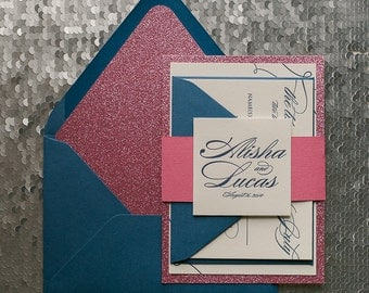 Navy and Pink Glitter Fancy Vertical Calligraphy Wedding Invitation - SAMPLE (Lauren)