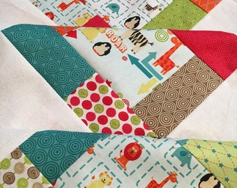 Quilt Top Unfinished - Alphabet Soup boy or gender neutral - by Zoe Pearn for Riley Blake Designs - bright and fun 38 in x 38 in