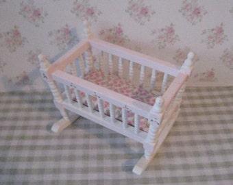 Nursery cradle, dollhouse cradle,  small cradle.  Nursery, childs cradle, miniature cradle, twelfth scale cradle