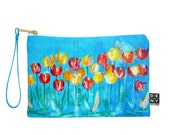 Tulips in Blue Pouch