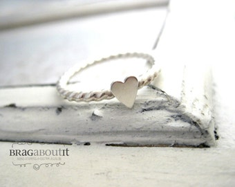 Stacking Ring . Stackable Ring . Teeny Tiny Stacking Ring . Heart Stacking Ring . Teeny Tiny Brag Band . Brag About It
