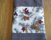 Embellished Towel with Pinecones and Red Leaves