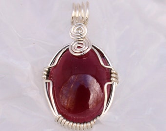 Wire-wrapped Garnet Pendant G338