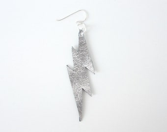 Leather Lightning Bolt Single Earring - Metallic Silver Leather with Sterling Silver