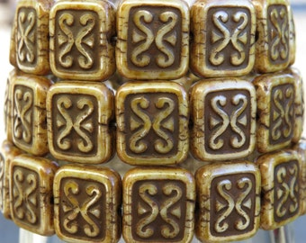 12x11mm Aged Opaque Beige Picasso Czech Glass Rectangle Beads - Qty 15 (BS386)