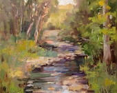 Original Oil River Scene Plein Air by Marty Husted