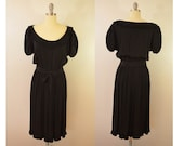last chance Vintage Little Black Dress Scooped Pleated Collar and Belt Size 10 Made in USA 1950s