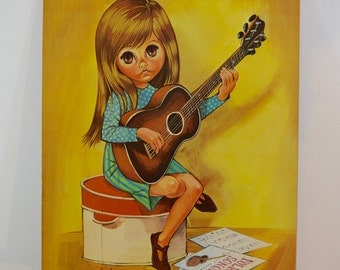 Vintage GO GO Girl with Guitar Big Eye Print by EVE 1960's large print