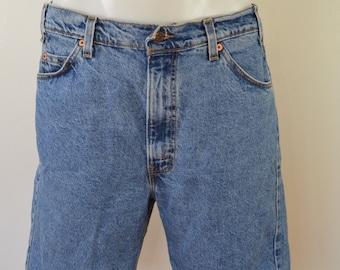 Vintage LEVI'S 505 denim shorts size 36 made in USA jorts orange tab