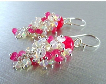 25% Off Summer Sale Hot Pink Moonstone and Quartz With Ethiopian Opal Dangle Cluster Earrings