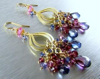 Bi Color Quartz With Rhodolite Garnet and Pink and Blue Quartz Gold Cluster Chandelier Earrings