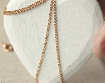 18 inch Fine copper chain necklace, choose SMALL copper chain, round DAINTY rolo, 1.5mm link solid copper necklace chain SF187
