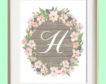 Letter H Printable, Instant Download, Baby Girl Nursery Wall Art, Girl Nursery Decor, Floral Monogram, Pink Mint Gray Letter Art, Baby Gift