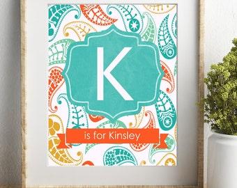 Personalized Baby Print, Nursery Art, Custom Name Print, Kids Room Decor, Child Wall Art, New Mom Gift, Teal Orange Nursery, Gender Neutral