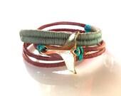 Friendship Bracelet  Leather Wrap Bracelet  Gold Whale Tail Khaki Turquoise Woven Bracelet Boho Bracelet Nautical Jewelry Beach Jewelry