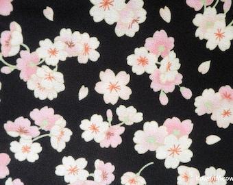 Japanese Kimono Fabric - Sakura on Black - Fat Quarter (ki151221)