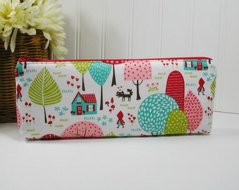 Lil' Red Riding Hood Long Zipper Pouch, Long Zipper Pouch, Pencil Pouch.. Lil' Red Grandmother's House