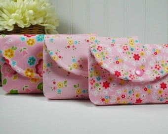 3 Piece Snap Pouch Set, Nesting Pouch Set,  (Large, Medium, Small) .. Bloom and Bliss Floral in Pink