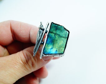 YOUR SOUL  Ring sterling silver green  blue  Spectroilte   Ring  unisex