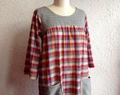 Plaid on Plaid cotton smock dress Sz 2/4