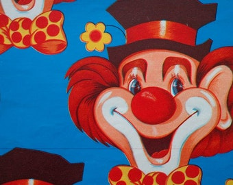 Vintage 1970s Gift Wrap All Occasion  Clown Faces - 1 Sheet Vintage Gift Wrapping Paper
