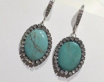 SUMMER SALE Turquoise Statement Earrings, Gemstone Slice Earrings, Pave Diamond Look Swarovski Crystal, AfricanTurquoise Earrings